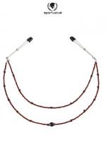 Collier de seins Perles rouge - 2 rangées - Deux rivières de perles fantaisie pour parer vos seins.