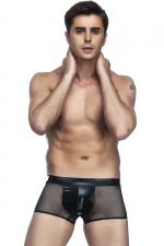 Boxer homme en résille - Mélange de matière et look hyper sexy avec ce boxer homme en tissu wetlook et fine résille.