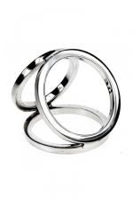 Triple cock and balls ring - Cockring avec 3 anneaux en acier inoxydable poli soudés entre eux pour tripler les effets.
