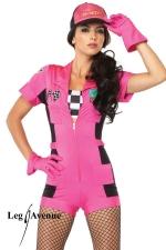 Costume rallye Pit Crew - Costume Pit Crew : combishort zipp�, top bandeau � damier, gants, casquette.