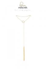 Collier métallique doré avec franges - Un collier en métal avec un mini fouet à son extrémité, pour un look sexy et branché, mais aussi pour enflammer vos jeux érotiques.