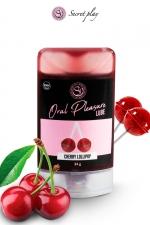 Lubrifiant comestible sucette à la cerise - Lubrifiant 100% comestible au parfum sucette à la cerise signé de la marque Espagnole Secret Play.