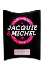 Boite cadeau J&M - Une charmante petite boite cadeau aux couleurs de Jacquie & Michel, votre site coquin préféré.
