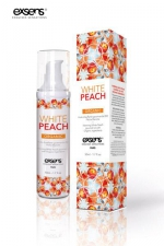 Huile de massage BIO Exsens - peche blanche - Huile de massage Exsens White Peach, chauffante et gourmande, BIO, à la pêche blanche. Flacon de 50 ml.