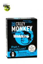 3 Préservatifs Crazy Monkey Fun & Friction - 3 préservatifs transparents dotés de picots et de nervures, pour accroitre les sensations de votre partenaire, marque Crazy Monkey.