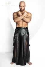 Jupe STRONGER Blade - Jupe longue pour homme style Samouraï en wetlook mat et tulle noir.
