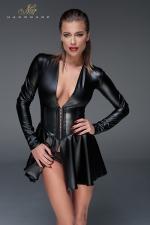 Minirobe corset wet look F154 - Evasée et manches longues, cette robe courte en wetlook possède une ceinture corset qui affine la silhouette.